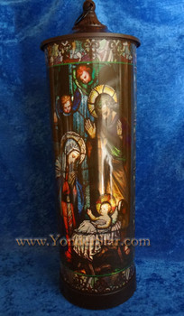 "24"" Nativity Scene Stained Glass Lamp"