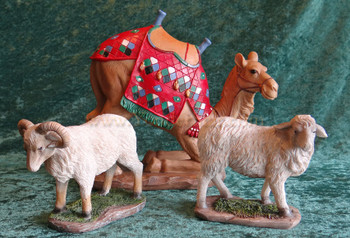 "14"" Deluxe The Real Life Nativity Awassi Sheep and Camel"