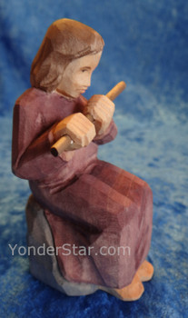 Child with Flute - Huggler Nativity Swiss Woodcarving