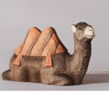 Wood carved nativity camel