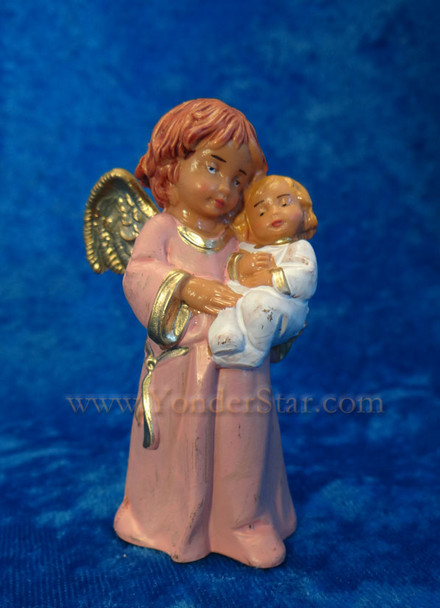 """Bless This Child - 5"""" Fontanini Angel with Infant - Pink 65519"""