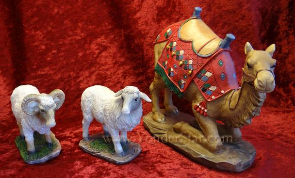 "10"" Standard Real Life Nativity Awassi Sheep and Camel Set"