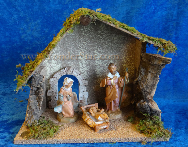 "5"" Fontanini Nativity Set w 10"" Wooden Stable 54710"