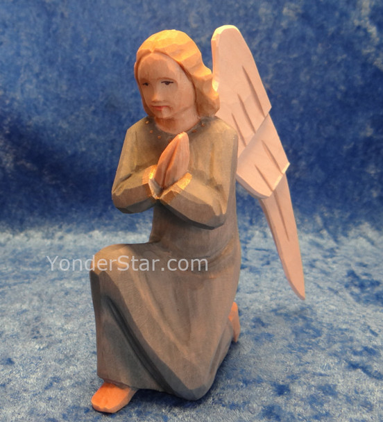 Angel Kneeling in Blue Gown - Huggler Nativity Switzerland