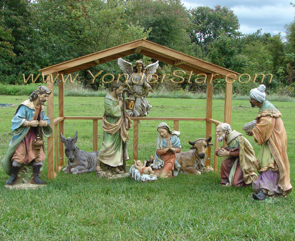 Outdoor Nativity Scene with Wooden Stable