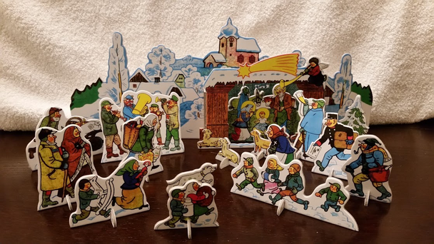 Cardboard punchout nativity from Czech Republic