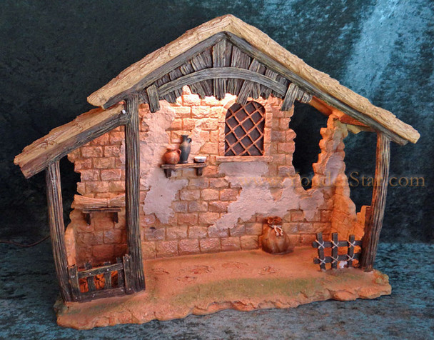 """14.5"""" Fontanini Lighted Stable for 7.5"""" Nativity Figures 50816"""
