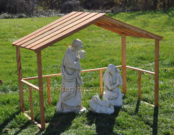 Outdoor Nativity Holy Family with Wooden Stable