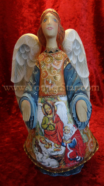 """Miraculous Blessing Angel -  9"""" G Debrekht Illustrated Nativity"""