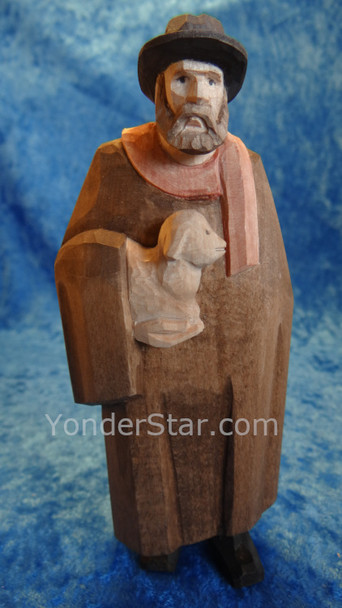 Shepherd with Cape & Lamb - Huggler Nativity Woodcarving
