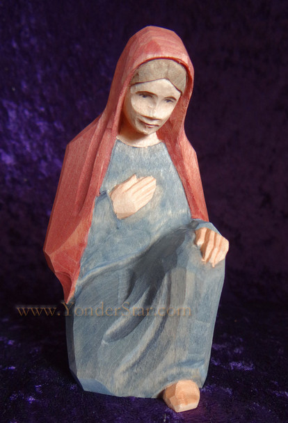 carved wood nativity Mary