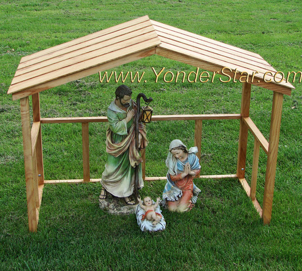 Outdoor Nativity Holy Family with Wooden Manger / Stable : Pre-Order 2020