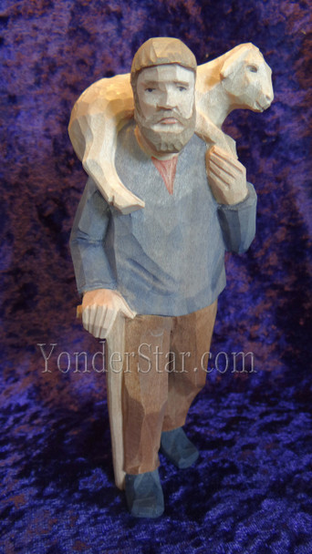 Hand carved nativity shepherd