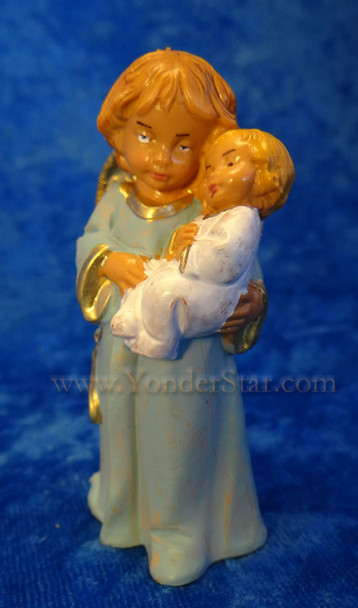 """Bless This Child - 5"""" Fontanini Angel with Infant Blue 65518"""