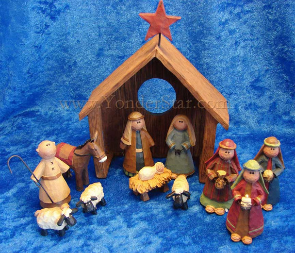 Joyous Bethlehem nativity scene.