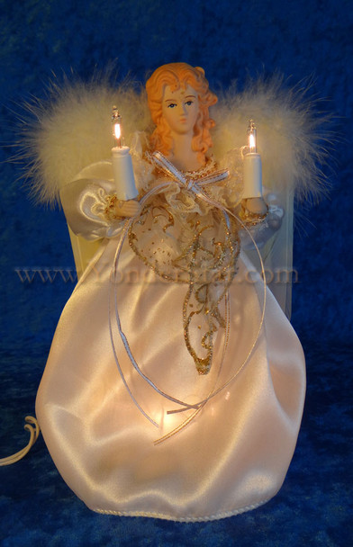 """9"""" Ivory & Gold Angel Tree Topper"""