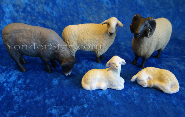 carved wooden nativity sheep