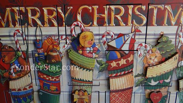Advent calendar wooden Merry Christmas