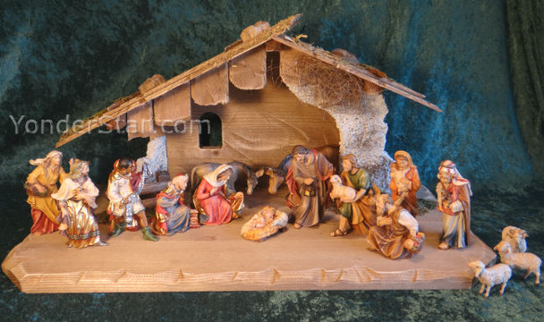 LEPI Nazarene Italian Nativity Set 16 piece w Stable - Hand Carved & Painted