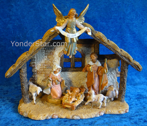 "5"" Fontanini Nativity Scene - 7 pc w 9"" Resin Stable  54461"