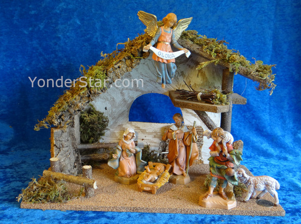 "Fontanini Nativity Scene w 11.25"" Wooden Stable 54491"