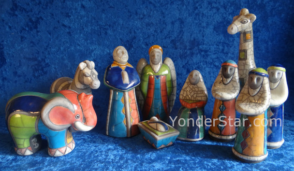 Raku pottery Nativity
