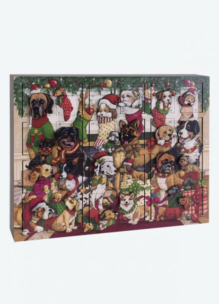 Heirloom Wooden Advent Calendar Christmas Dogs - Byers' Choice - Pre-order