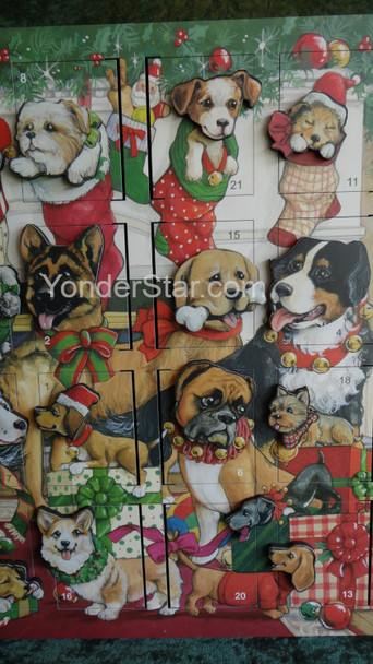 Heirloom Wooden Advent Calendar Christmas Dogs