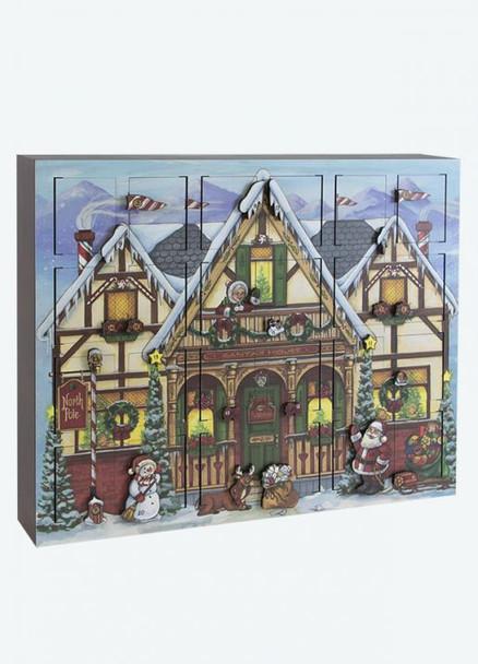 Heirloom Wooden North Pole Advent Calendar  - Byers' Choice - Pre-order