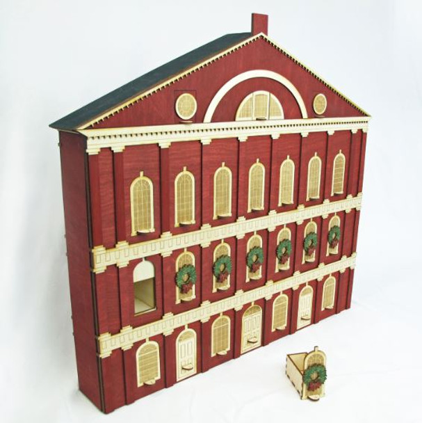 Heirloom Wooden Advent Calendar Famed Faneuil Hall in Boston Replica