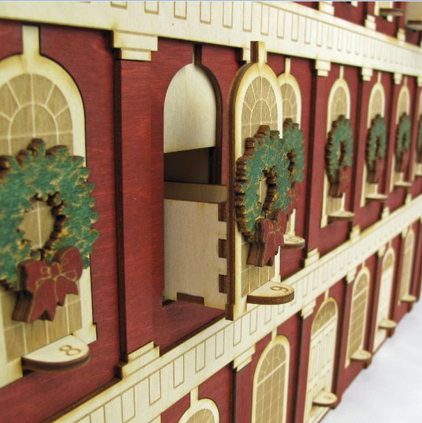 Heirloom Wooden Advent Calendar Famed Faneuil Hall in Boston Replica - Hand-made