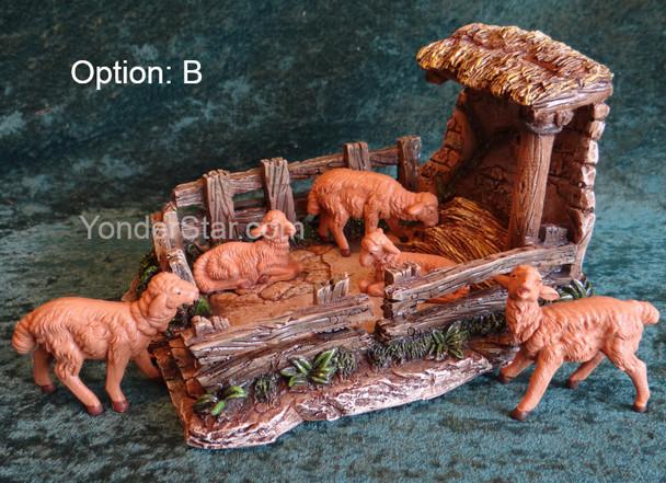 """Sheep Shelter Scene - 5"""" Fontanini Nativity Brown Sheep Scene s55605B"""