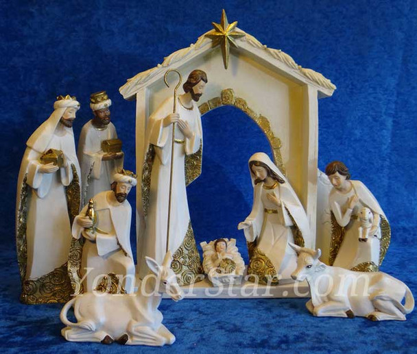 Ivory Gold Nativity Set