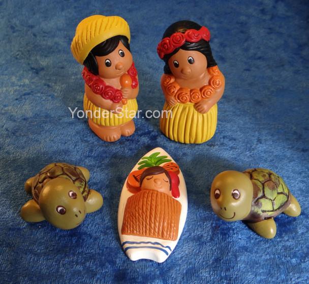 Mahalo Hawaiian Nativity Set 3.5 Inches- Fair Trade from Peru