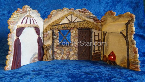 "8"" Fontanini Nativity Lighted Backdrop for  5"" Nativity Figures 50408"