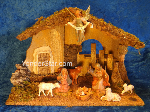 "5"" Scale Fontanini Nativity Scene 9 pc with 11.75"" Wood Stable 54431"