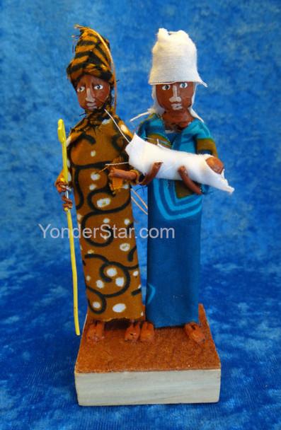 Kitenge Fabric Small Nativity Scene from Uganda