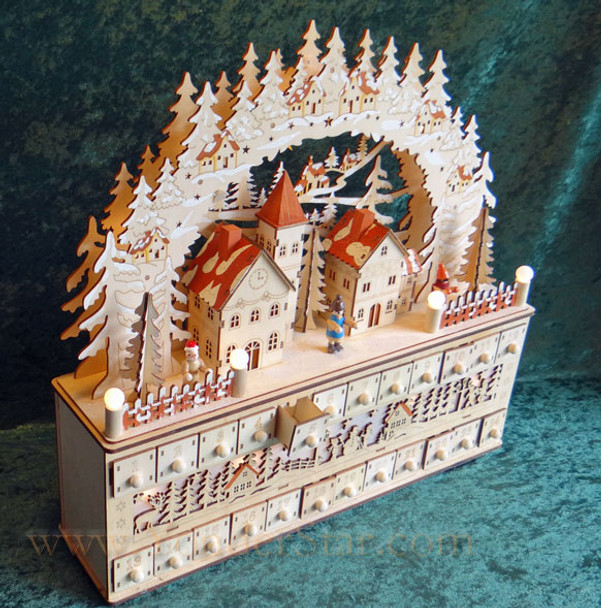 Lighted Wooden Advent Calendar