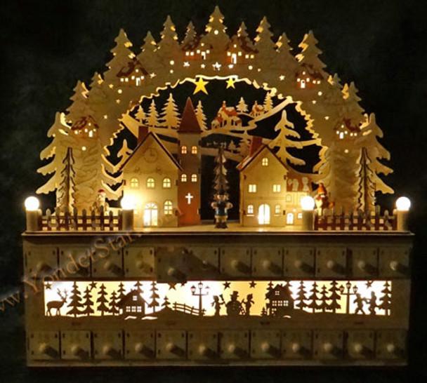 Wooden Advent Calendar Lighted
