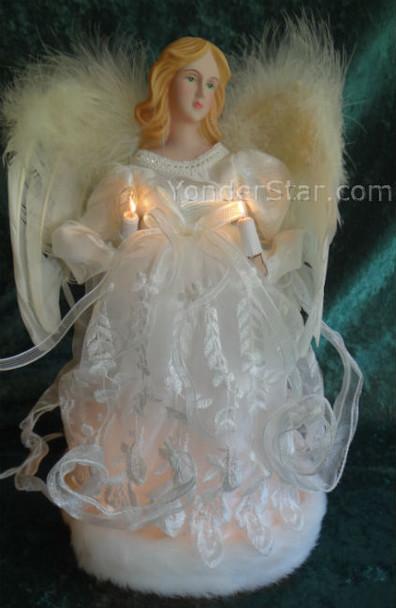 "12"" Ivory Angel Tree Topper White Mini Lights"
