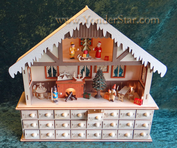 Lighted Wooden Advent Calendar - Winter Chalet Advent Calendar