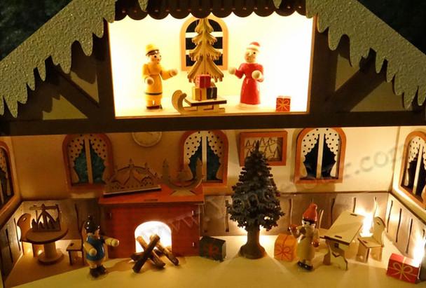 Lighted Wooden Advent Calendar - Winter Chalet Advent Calendar