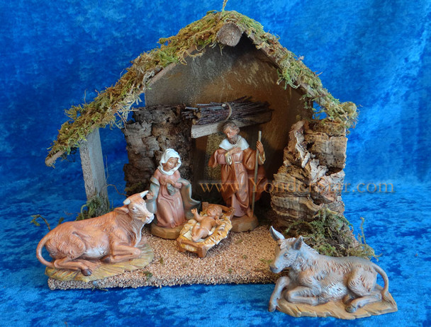 "5"" Fontanini Nativity Set w 10"" Wooden Stable  54484"