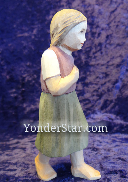 Huggler nativity girl walking.