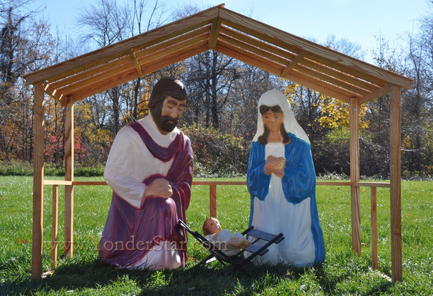 Life Size Outdoor Nativity and Wooden Stable - Out of Stock