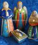Raku nativity Holy Family with angel