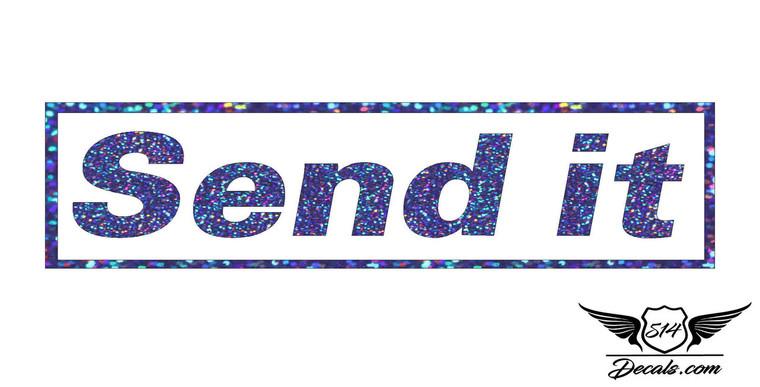 Send it Blue Glitter Sticker Decal