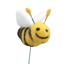 Felted Buzzy Bee Yellow and Black with White Wings and Smiley Face
