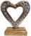 Silver Heart on Wooden Base