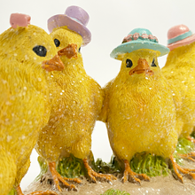 Five Chicks Standing in Hats Decoration